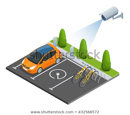 vector isometric secure car parking stock photo © tele52