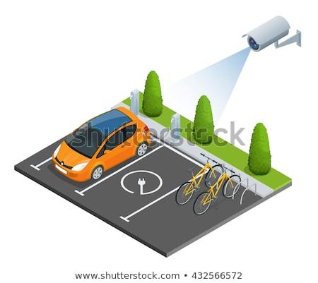 вектора изометрический безопасного автомобилей стоянки кабельное телевидение Сток-фото © tele52