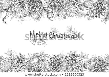 Karácsonyfa izolált fehér rajz üdvözlőlap ünnepi Stock fotó © Lady-Luck