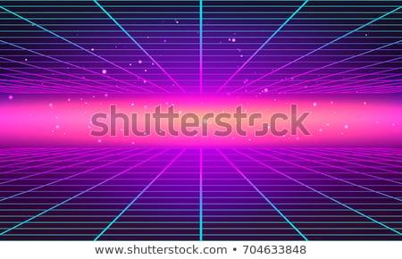 明るい · ネオン · グリッド · 行 · 80年代 - ストックフォト © SwillSkill