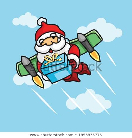 Papá noel cohete Navidad Cartoon espacio Foto stock © Krisdog