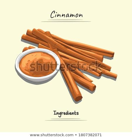 Köteg friss aromás fahéj por fűszer Stock fotó © bdspn