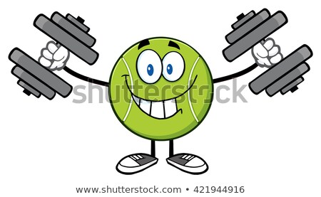 Smiling Tennis Ball Cartoon Mascot Character Working Out With Dumbbells Stock photo © hittoon