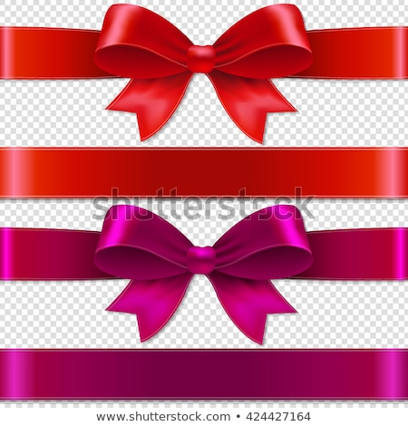 Blank Gift Tag Red Ribbon Bow Transparent Background Stock photo © cammep