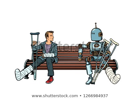a robot and a man with broken legs with crutches and in a cast Stock photo © studiostoks