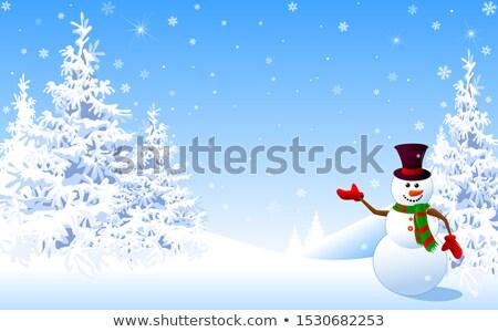 Funny muñeco de nieve año nuevo Navidad aislado blanco Foto stock © orensila