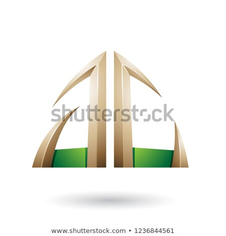 Verde bege seta letra c vetor Foto stock © cidepix