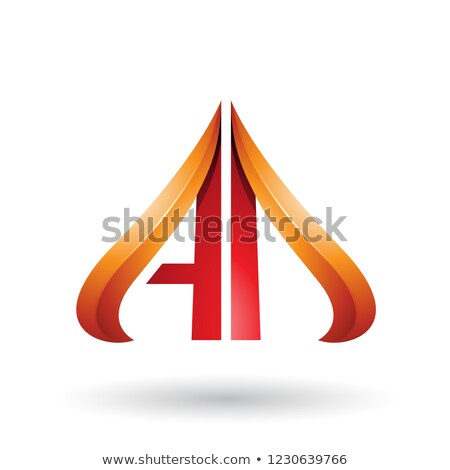 Orange and Red Embossed Arrow-like Letter D Vector Illustration Stock photo © cidepix