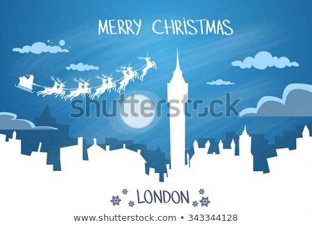 サンタクロース ロンドン 青 夜空 ベクトル 実例 ストックフォト © cidepix
