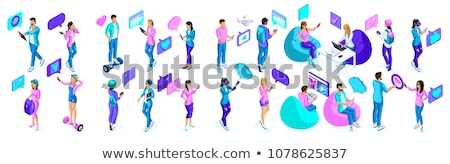 chatting online   modern colorful isometric vector illustration stock photo © decorwithme