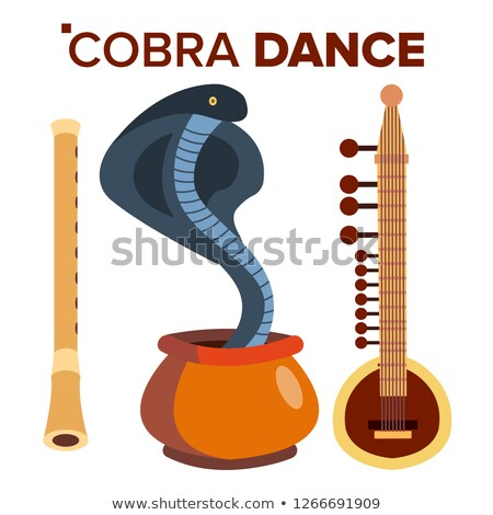 Cobra Dance Vector. Load Of Snakes. Flute And Pot. India. Isolated Cartoon Illustration Stock photo © pikepicture
