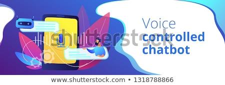 голосом виртуальный помощник баннер бизнесмен Сток-фото © RAStudio