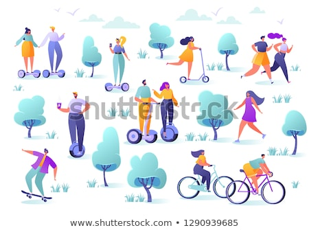 people in park hoverboard set vector illustration stock photo © robuart