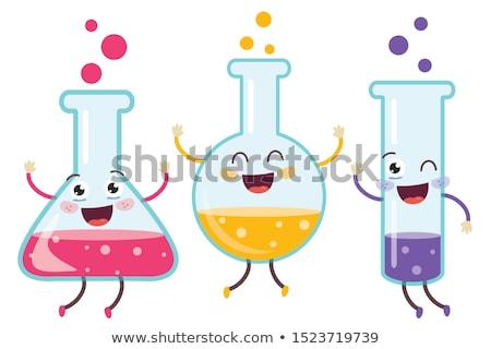 kids with test tube studying chemistry at school Stock photo © dolgachov