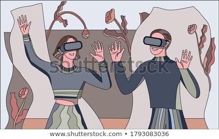 Interaktif gerçeklik kadın gözlük vektör Stok fotoğraf © robuart