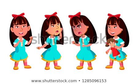 Asian Girl Kindergarten Kid Poses Set Vector. Preschool. Young Positive Person. Beauty. For Banner,  Stock photo © pikepicture