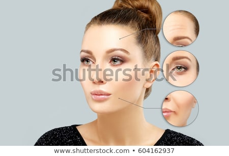 Vergelijking vrouwelijke botox injectie illustratie oog achtergrond Stockfoto © colematt