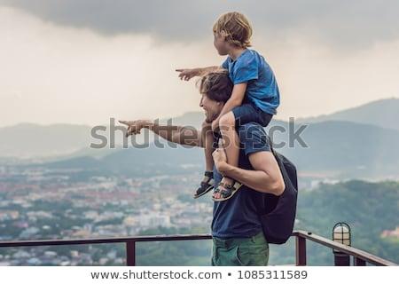 父から息子 プーケット 町 表示 猿 丘 ストックフォト © galitskaya