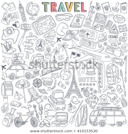 travel landmarks hand drawn outline doodle icon set stock photo © rastudio