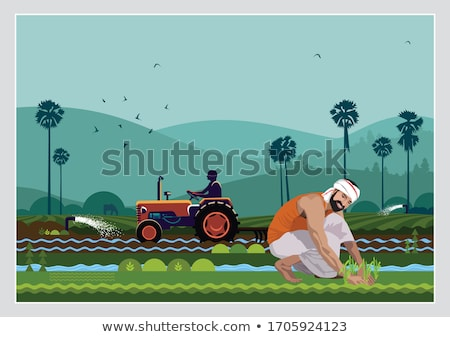 çiftçi tarım makinalar vektör afiş adam Stok fotoğraf © robuart