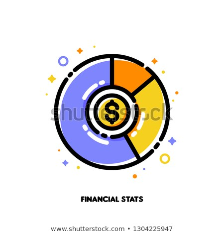 Icon of multicolor pie chart with dollar coin for financial stats Stock photo © ussr