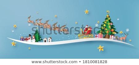 Mikulás szánkó illusztráció égbolt terv hó Stock fotó © colematt