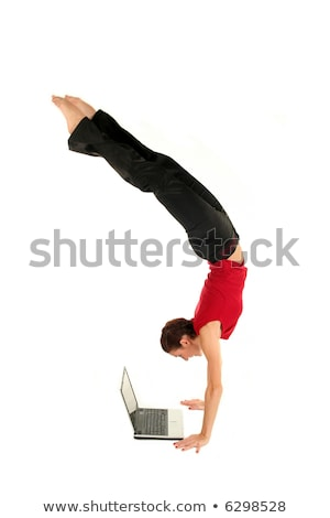 женщину стойка на руках используя ноутбук компьютер девушки Сток-фото © galitskaya