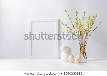 Húsvét keret ágak levelek húsvéti tojások virág Stock fotó © odina222