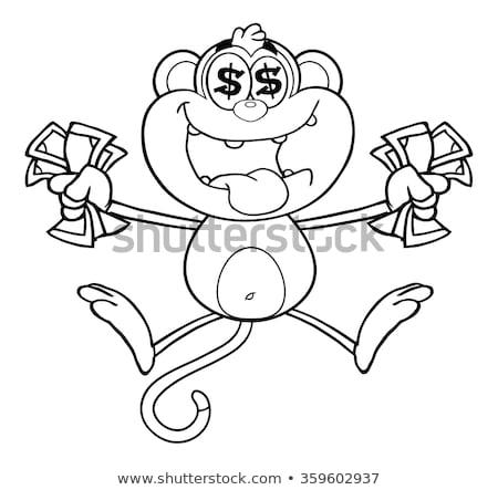 Preto e branco ganancioso macaco saltando numerário Foto stock © hittoon