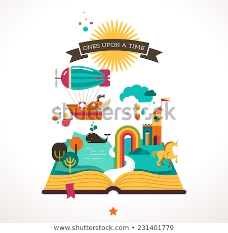 Unicorn castle on open book Stock photo © bluering