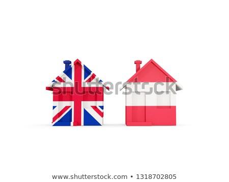 Twee huizen vlaggen Verenigd Koninkrijk Oostenrijk geïsoleerd Stockfoto © MikhailMishchenko