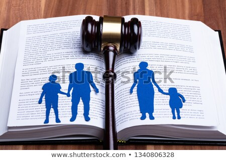 Cutout Of Separated Family On Open Book With Gavel Stock photo © AndreyPopov