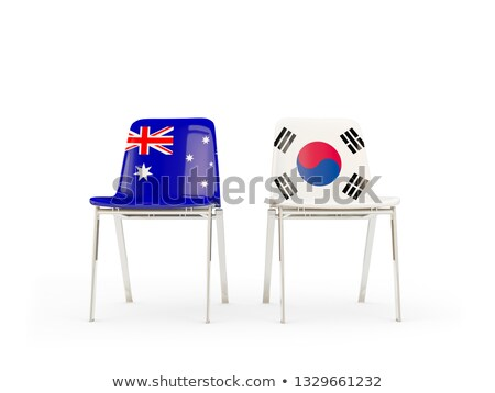 Dois cadeiras bandeiras Austrália Coréia do Sul isolado Foto stock © MikhailMishchenko