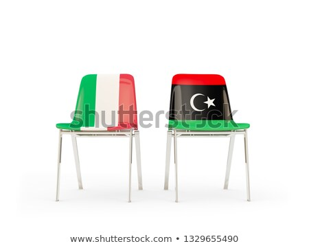 Two chairs with flags of Italy and libya Stock photo © MikhailMishchenko