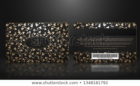 vector template of membership or loyalty black vip card with luxury elegant golden floral pattern stock photo © iaroslava