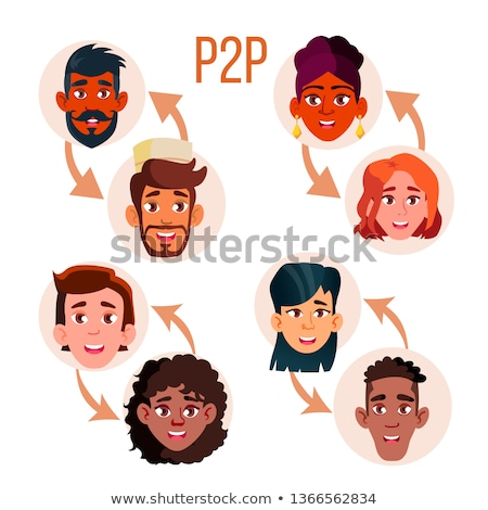 Peer To Peer Social Networking Vector Poster Template Stock fotó © pikepicture