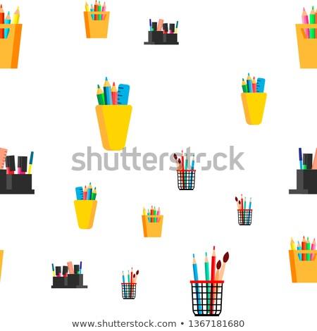 ストックフォト: Stationery Seamless Pattern Vector. School, Business Office Icon. Pen, Pencil. Cute Graphic Texture.