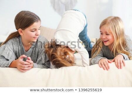 zusters · springen · bed · twee · cute · kinderen - stockfoto © dashapetrenko