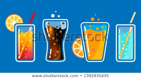 Different colored glasses with soda drinks with bubbles and tubes. Cocktail bar vector illustration. Stock photo © MarySan