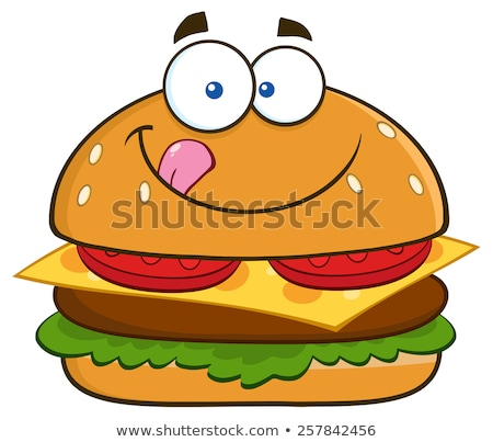 hungry hamburger cartoon character licking his lips stock photo © hittoon