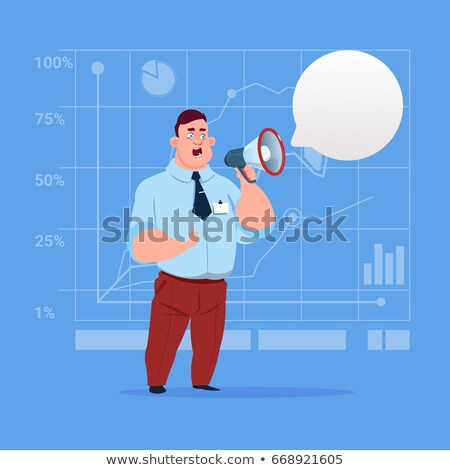 Businessman holding a megaphone. Digital marketing and advertising concept. Flat vector illustration Stock photo © makyzz