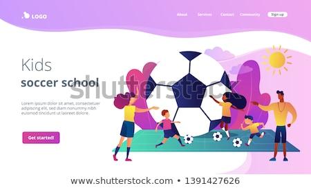 Futbol kamp iniş sayfa çocuklar öğrenme Stok fotoğraf © RAStudio