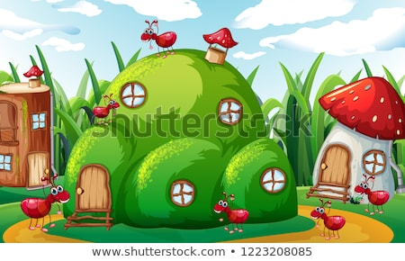 Family of ants playing in ant hills Stock photo © colematt