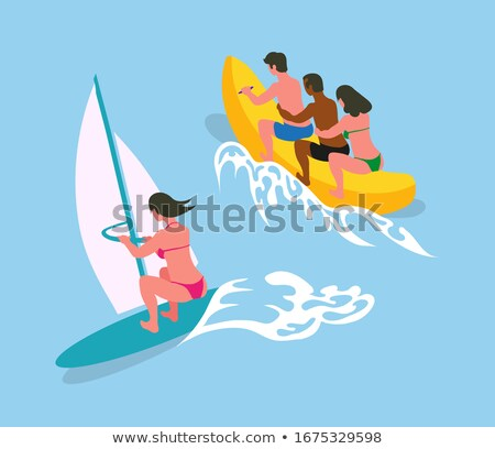 Woman Swimming on Surfboard with Canvas, Blue Sea Stock photo © robuart