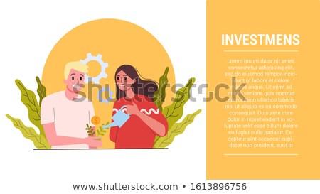 Woman Watering Money Plant, Gaining Money Concept Stock photo © robuart