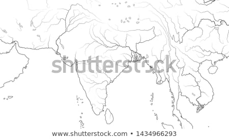 World Map of INDIAN SUBCONTINENT: India, Pakistan, Hindustan, Himalayas, Tibet, Bengal, Ceylon.  Stock photo © Glasaigh