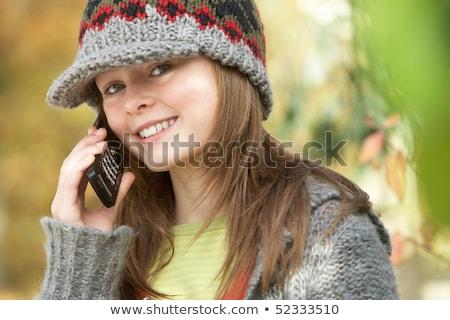 cabeza · espalda · joven · otono · móviles · teléfono · móvil - foto stock © monkey_business