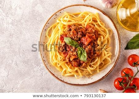 olasz · tészta · serpenyő · pesztó · mártás · tükörtojás - stock fotó © furmanphoto