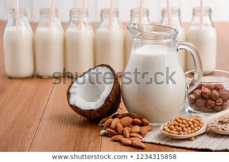 laktoz · ücretsiz · süt · gri · arka · plan · mutfak - stok fotoğraf © furmanphoto