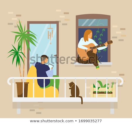 Woman Playing Guitar, Character with Cat at Home Stock photo © robuart